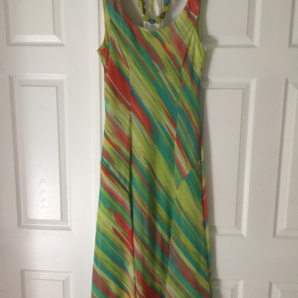 M&S Per Una Green Multi Coloured Dress with matching necklace - size 16 (BNWT)