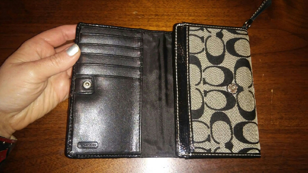 Coach black signature women's wallet