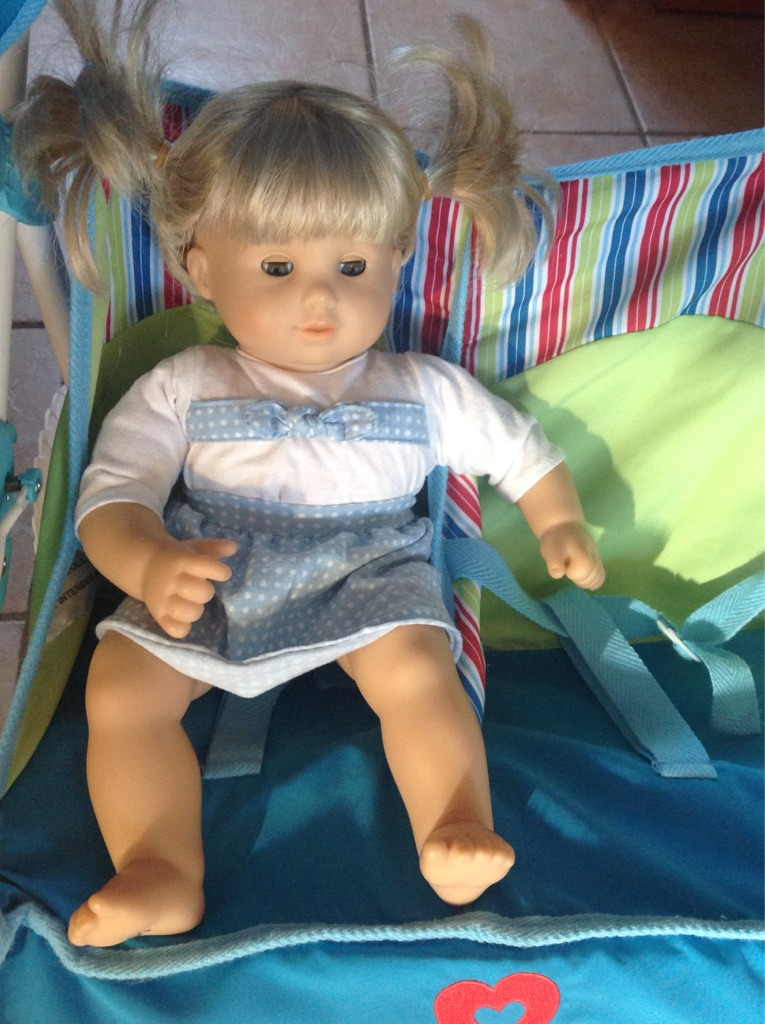 American girl bitty baby twins girl blonde hair like blue eyes in excellent condition