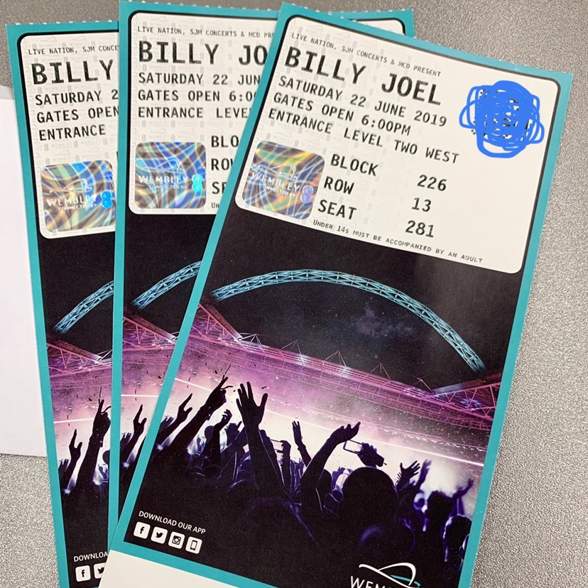 Billy Joel Concert Tickets Wembley 22nd June 18:00 3 tickets