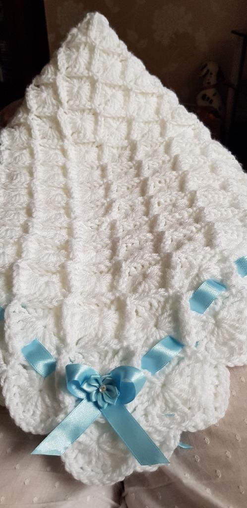 Handmade crocheted baby shawl/ blanket