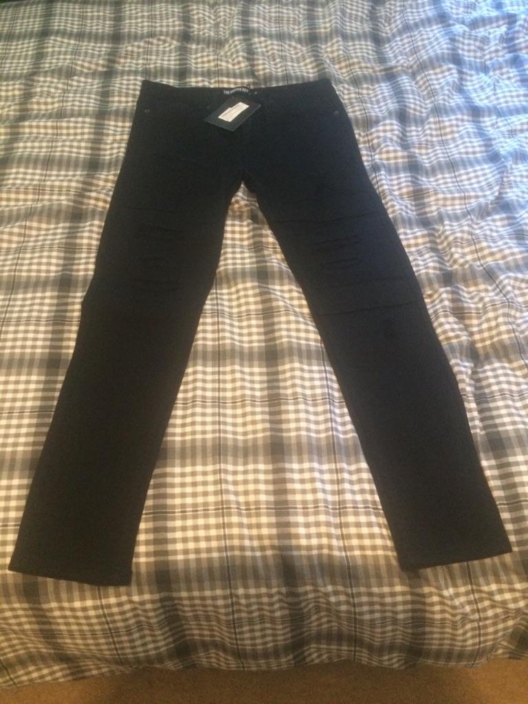 Men black rip skinny rockn rev jeans