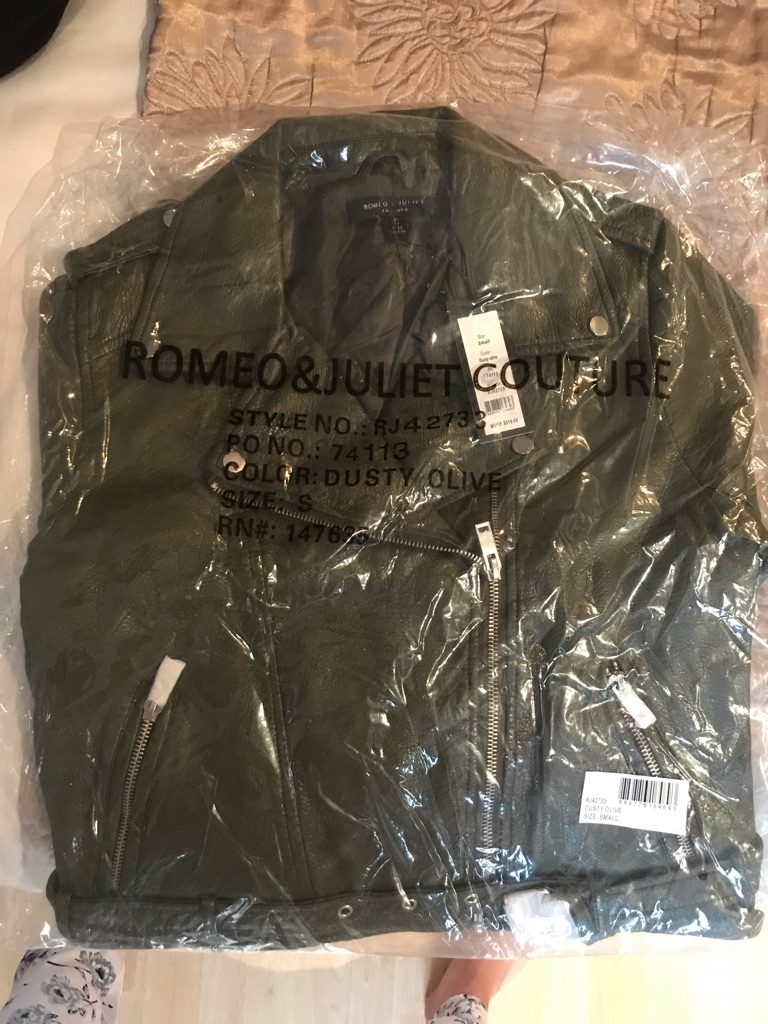 Leather look dark green jacket size 10 (S)
