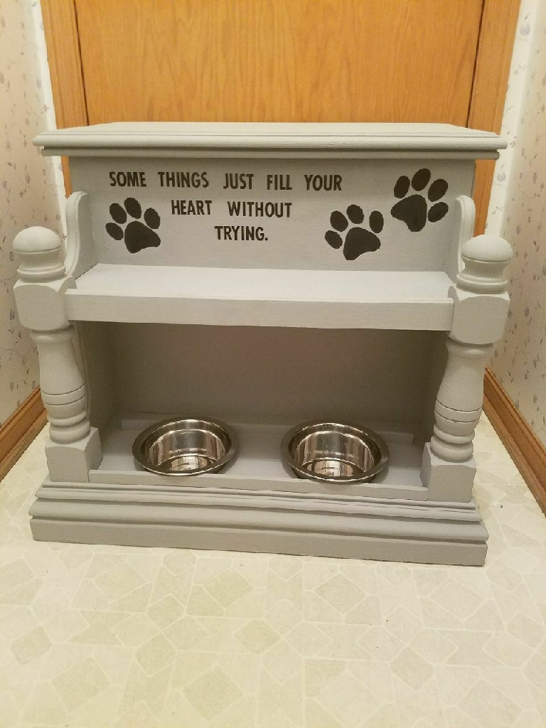 End table turned pet feeder