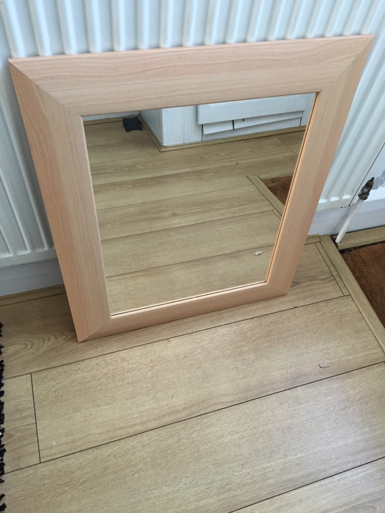Beech effect framed mirror