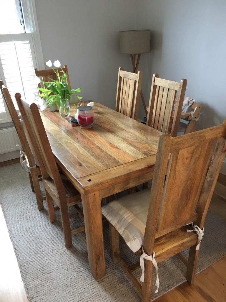 Baku solid mango wood chairs x 6