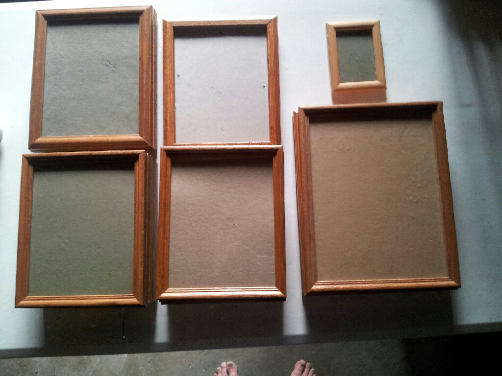 (13) ALL WOOD AND GLASS PICTURE FRAMES