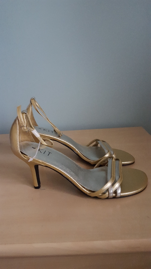 Gold & silver ankle strap sandals
