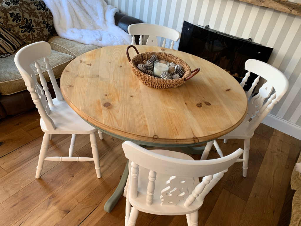 Dining table and chairs shabby chic
