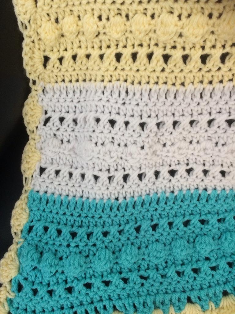 Aqua Blue ,Lemon and White Baby Blanket