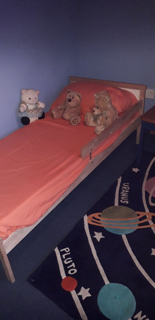 Toddlers bed ,wooden,with safely rail