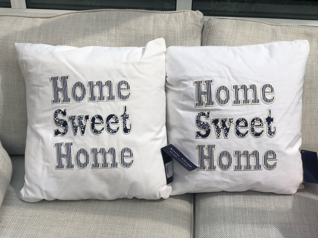 NEW - Pair of Kirsty Allsop 'Home Sweet Home' Cushions