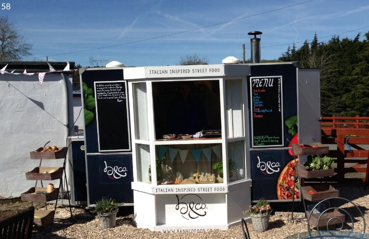 Vintage wood fired pizza catering trailer