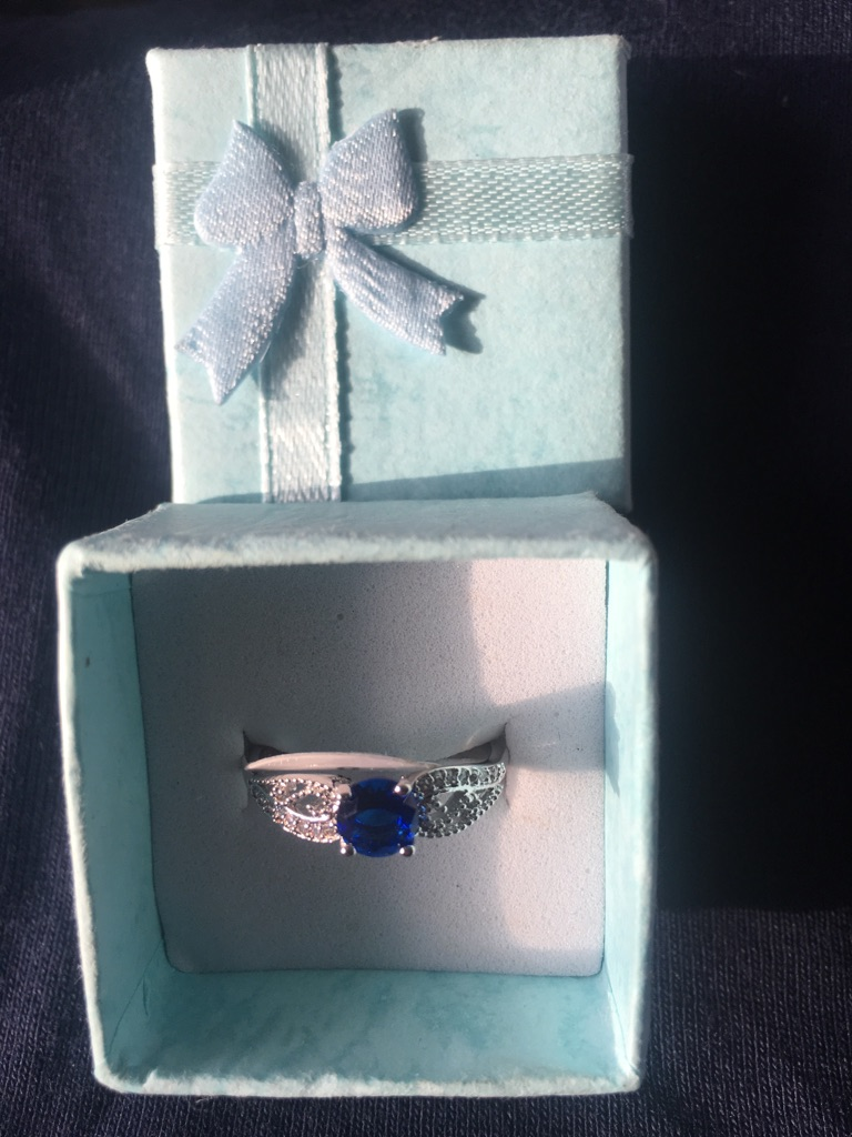 Silver 925 stamped blue quartz ring size P New in Box