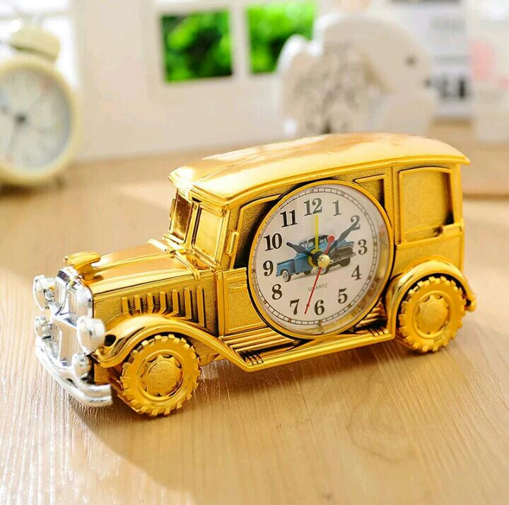 Gold car alarm clock