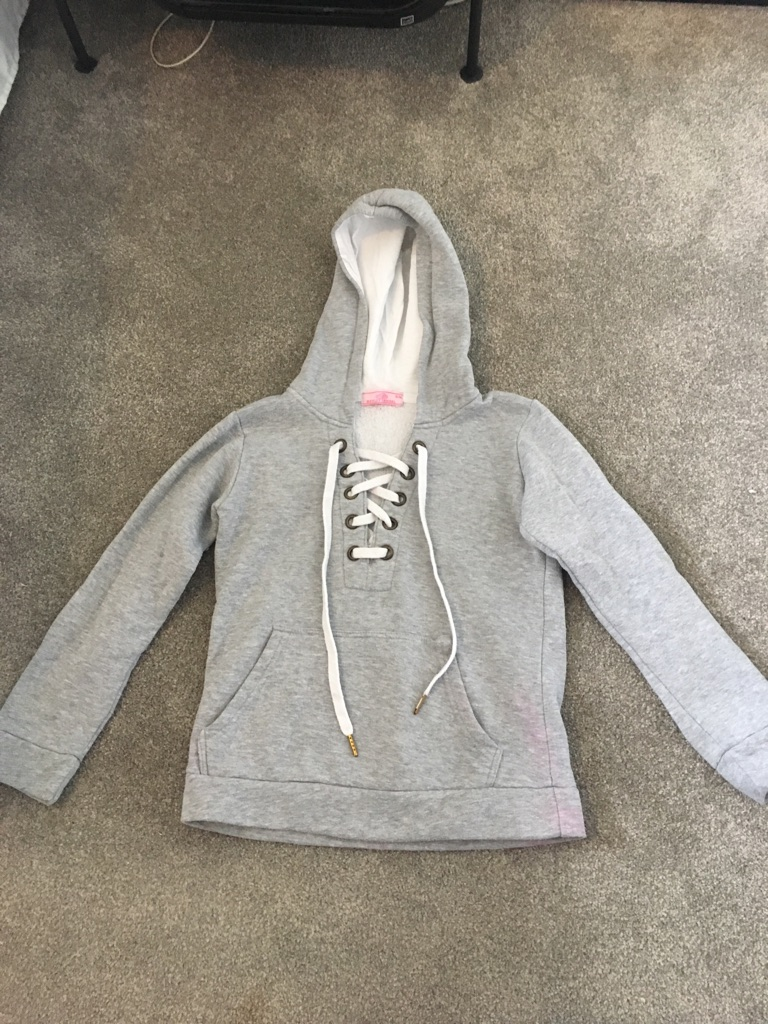 Women's grey hoodie lace up