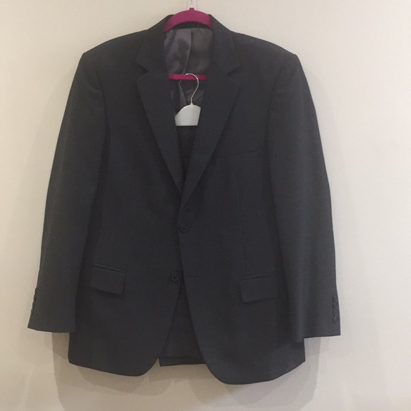 "M&S dark grey suit jacket (M) & 2 pairs trousers (34"")"