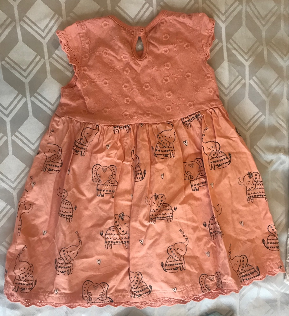 Cotton Elephant Baby Girls Dress 12-18m Orange Coral