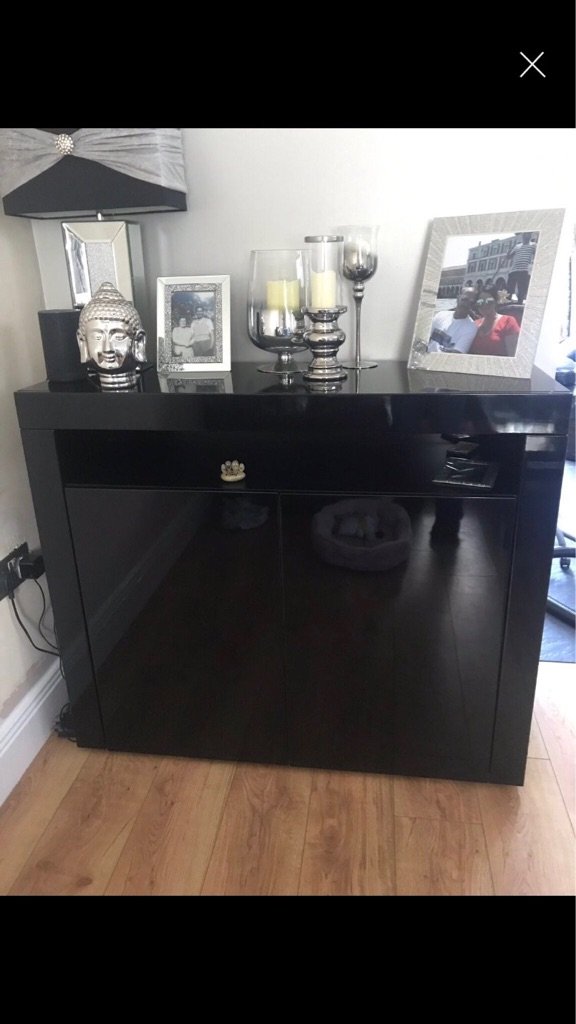 Black high gloss sideboard with led lights with remote control