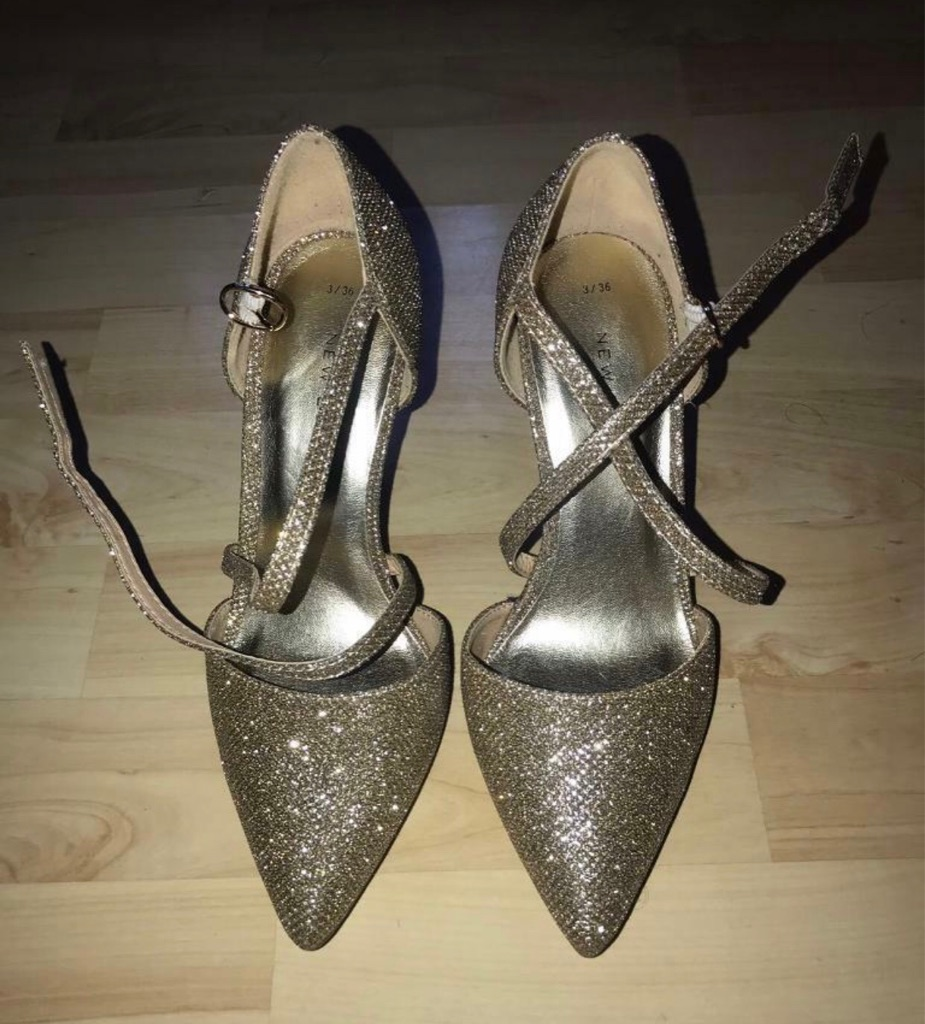 New Look Gold/Glitter Pointed Heels (UK 3)