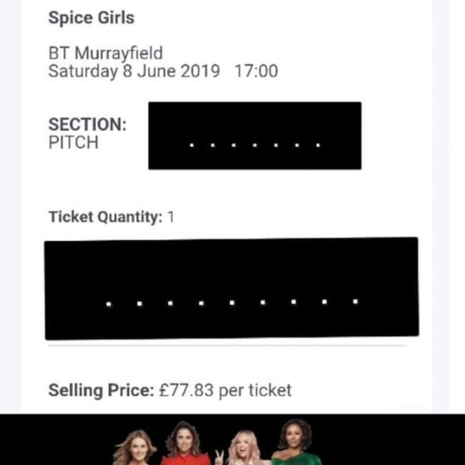 Spice girls ticket