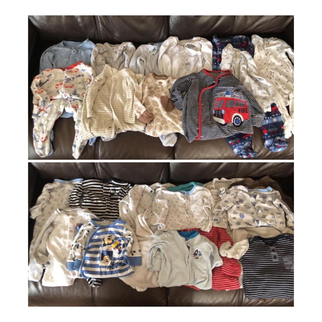 Boys 3-6 months sleepsuits bundle