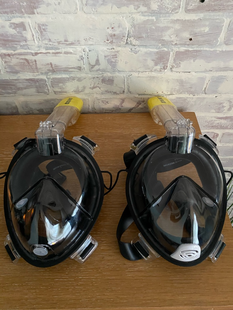 2  Dolfino face mask for water diving or snorkels black and yellow brand new