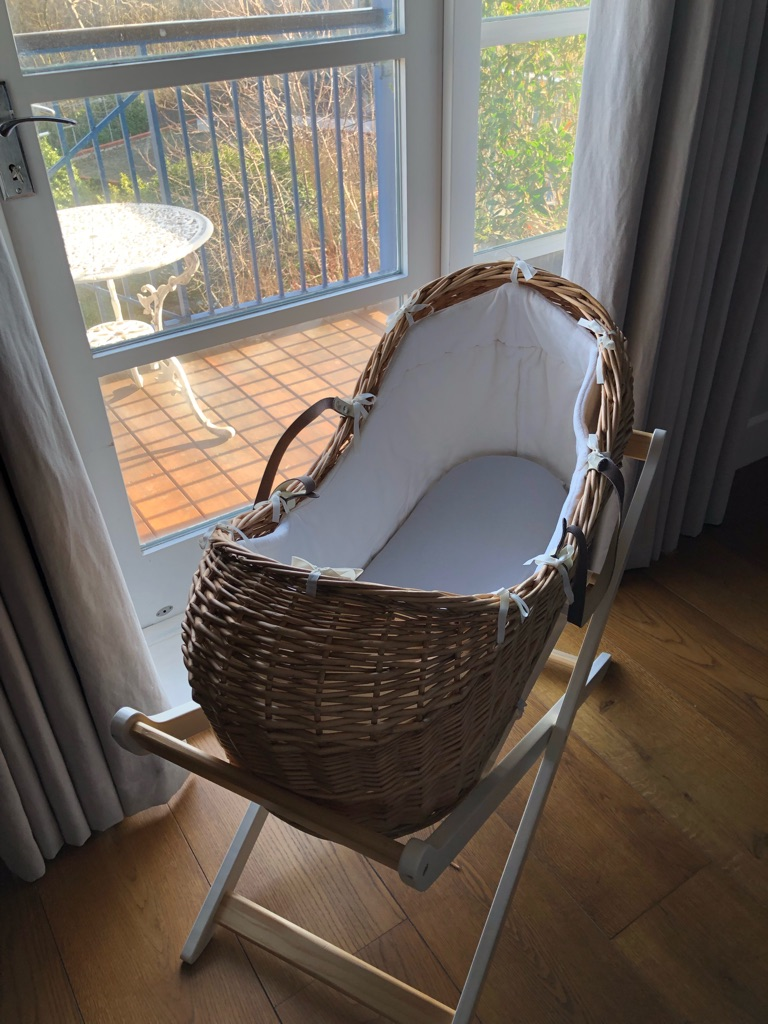 Mothercare Moses Basket - includes basket, stand, liner and fitted sheets
