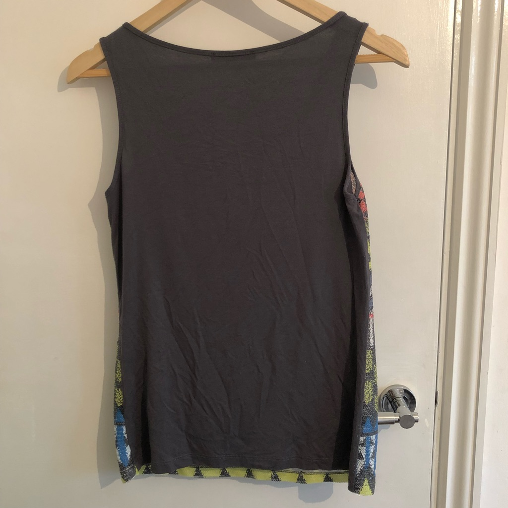 Dark grey top with sequinned front - UK size 8