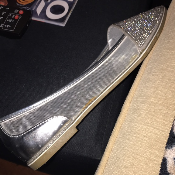 Ladies silver bling slip ons size 6