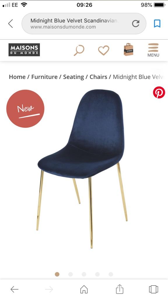 X2 brand new midnight blue velvet Scandinavian style chairs