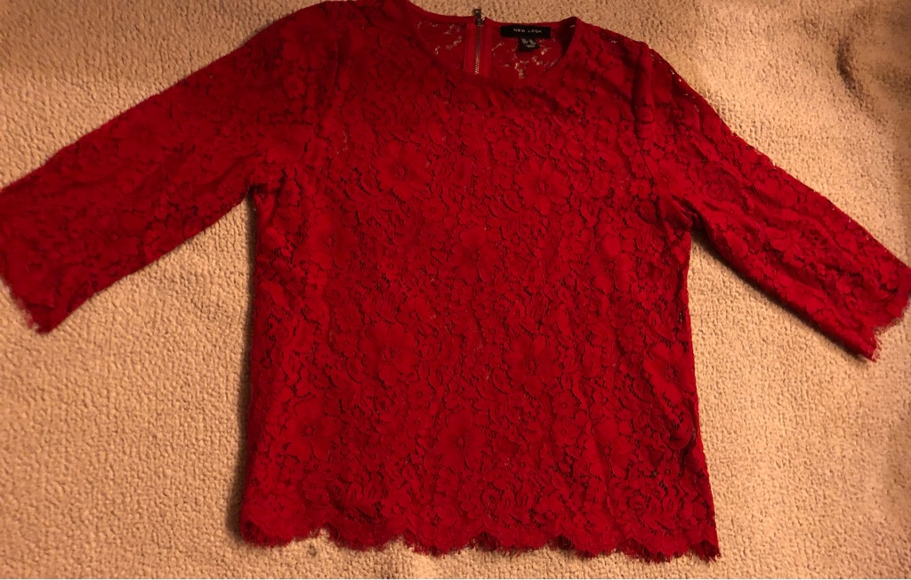 Red Lace Top New Look