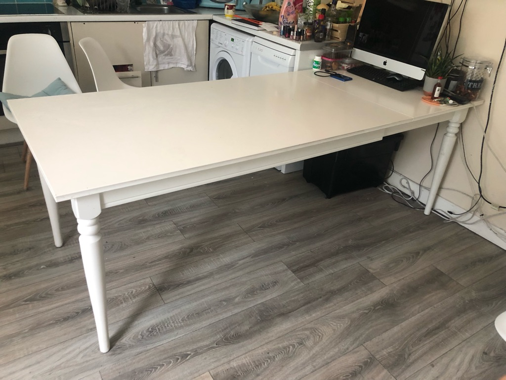 White dining extended table