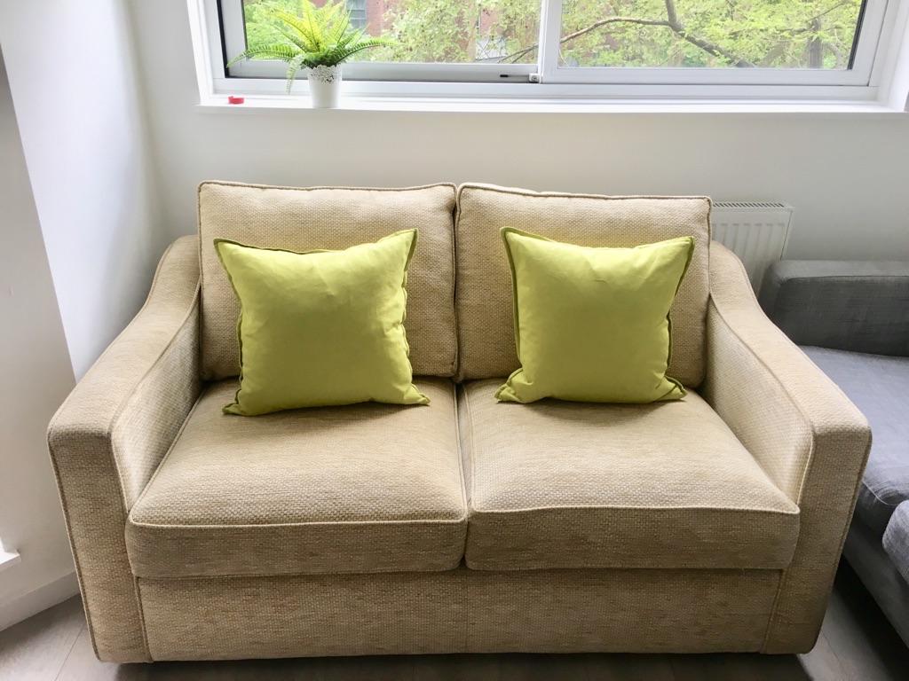 2 seater Sofa Bed - Linen Fabric Natural Beige (original price £1000)