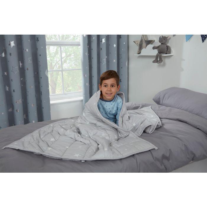 KIDS STAR TEDDY FLEECE WEIGHTED BLANKET 3KG Grey