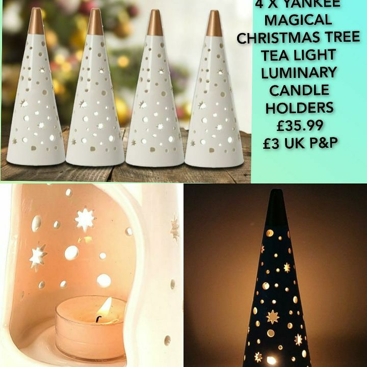4 X YANKEE MAGICAL CHRISTMAS TREE TEA LIGHT LUMINARY CANDLE HOLDERS 💥