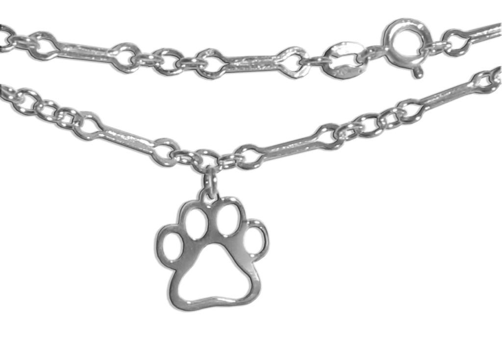 """Sterling Silver """"Dog Bone"""" Link Ankle Bracelet"""