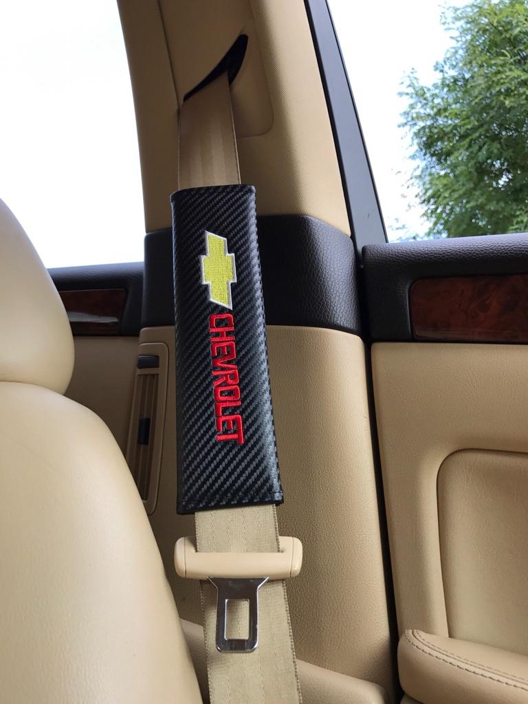 2X Seat Belt Pads Carbon Gift Chevrolet Aveo Spark Matiz Orlando Trax Captiva Camaro Cruze Lacetti