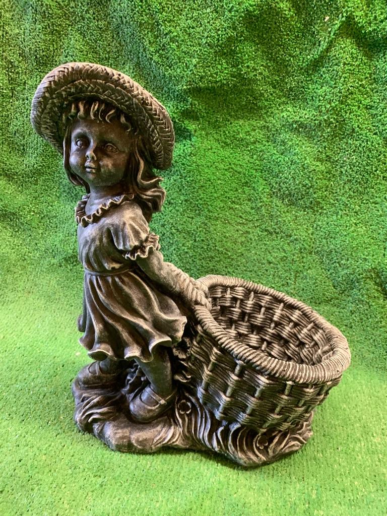 Concrete girl planter