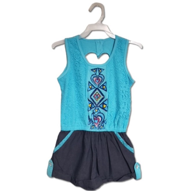 CROCHET/CHAMBRAY ROMPER