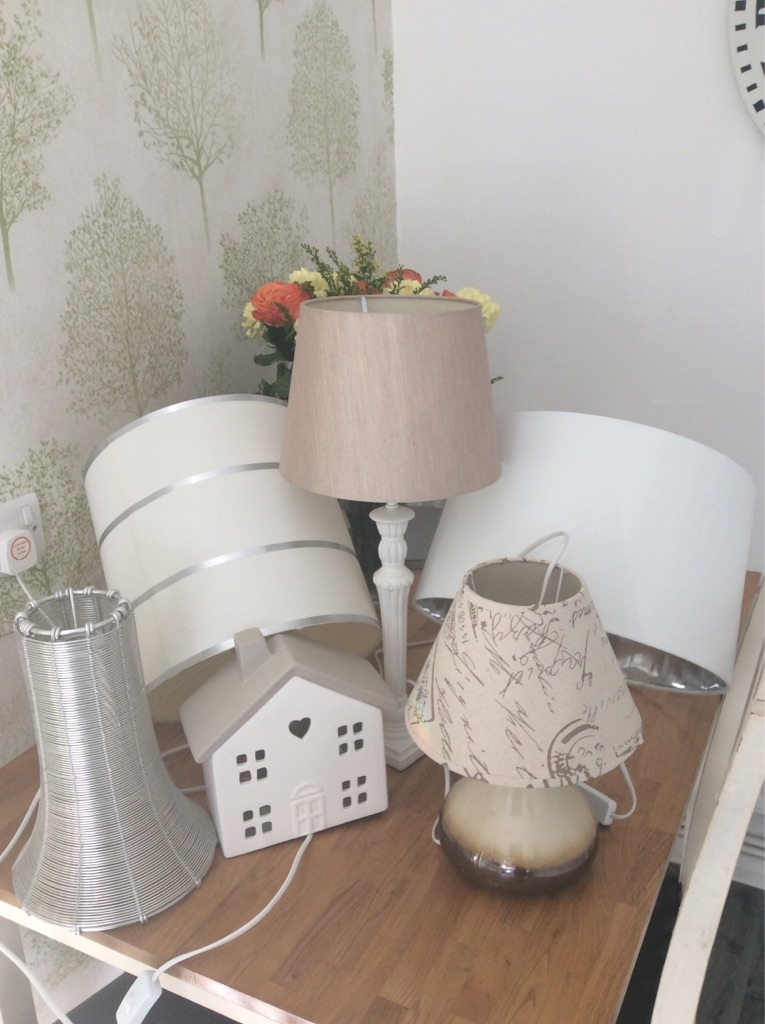 Lamps and shade.  All work, clean smoke free home.  Most unused. Job lot £10.  Pick up please from Sal 6.