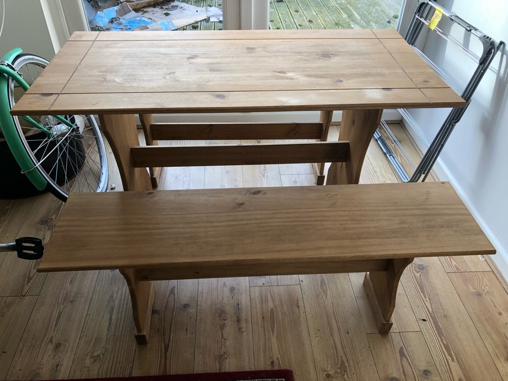 Pine bench dining table
