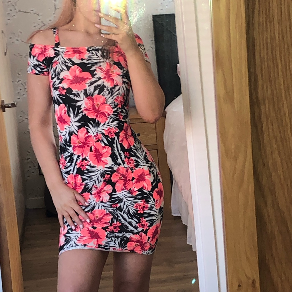 bardot black and pink bodycon dress