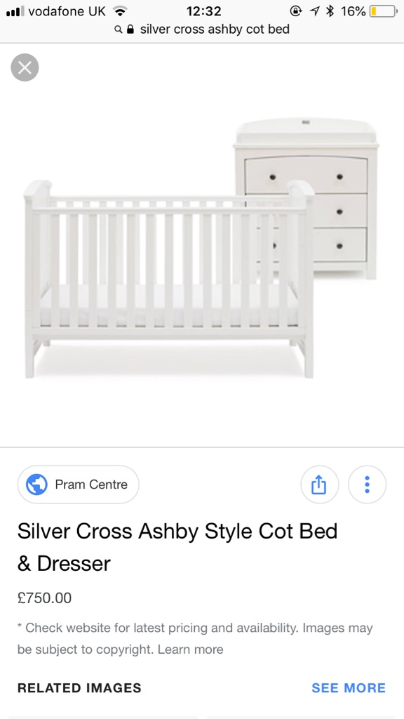 Silver Cross Ashby white cot bed and dresser