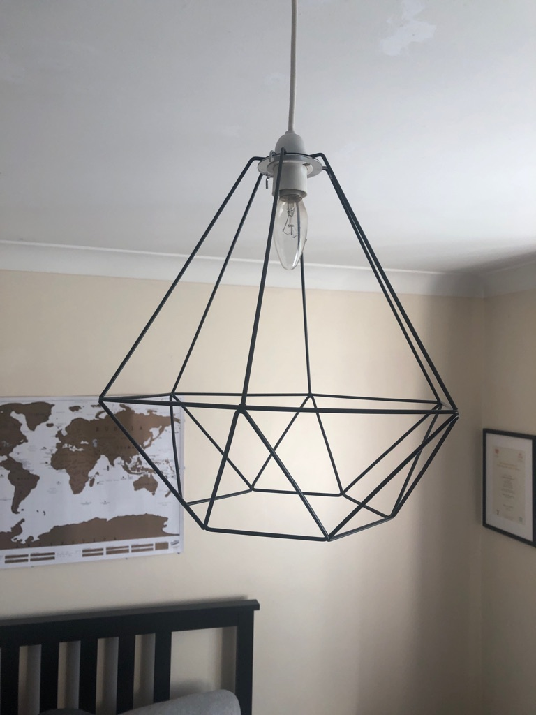 Hexagonal black wire lampshade