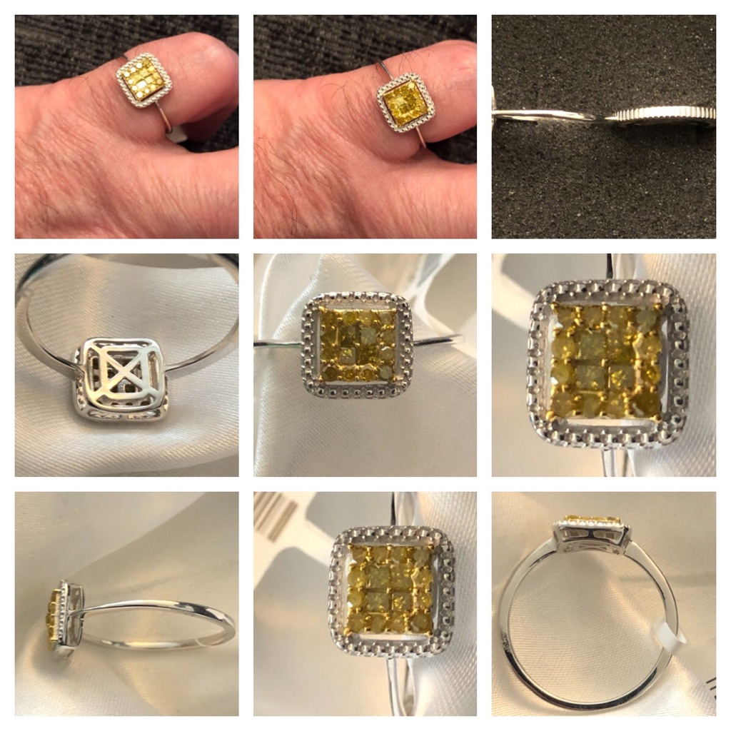 Yellow diamonds blue diamonds both size S new sterling silver 925 with platinum overlay