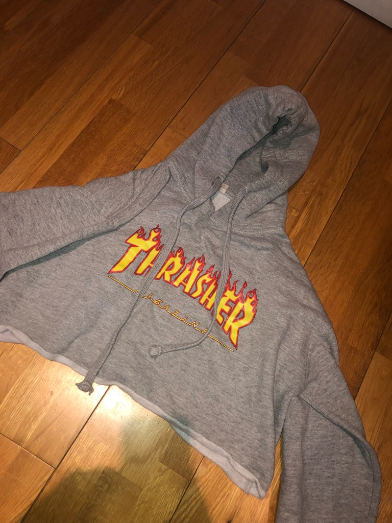 Grey thrasher cropped hoodie
