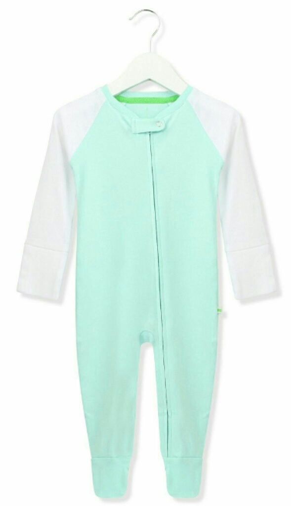 Babygrow romper bodysuit - Aqua & White