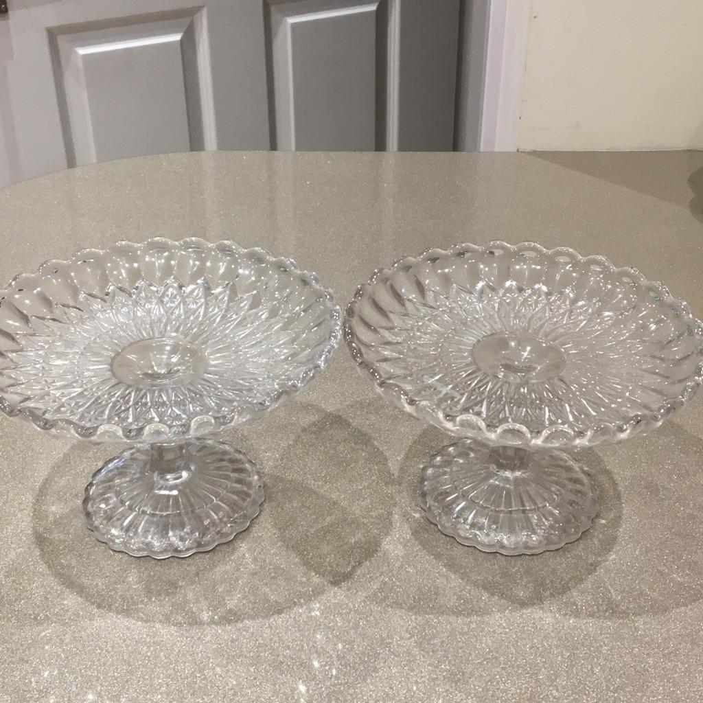 Stemmed glass cake plates