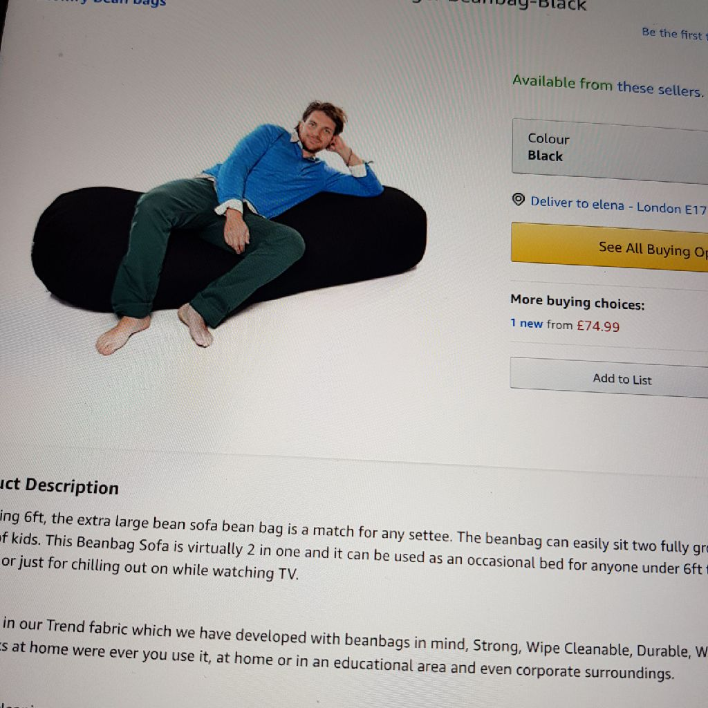 Large beanbag  sofa for only 30 pounds